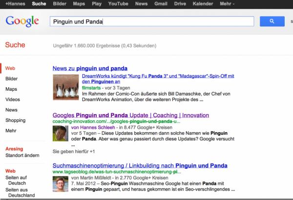 Autorenbild im Google Suchergebnis