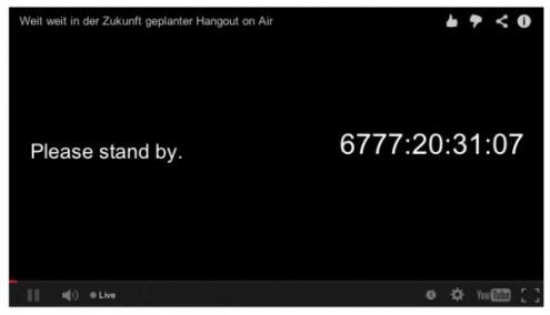 Hangout on Air YouTube Countdown bis zu meinem 70ten geburtstag am 7 Juli 2032 um 19 Uhr 30