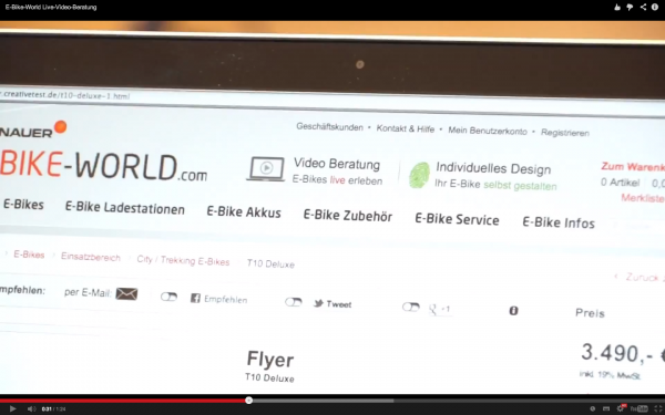 Screenshot E-Bike-World YouTube Video