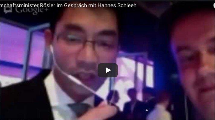 Wirtschaftsminister Rösler zum Medienrecht im Hangout on Air